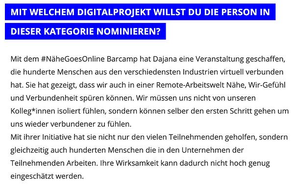 "Dajana Laube Digital Female Leader Award 2021 Nominee ""New Work"" by Global Digital Women"