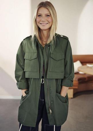 Gwyneth Paltrow is wearing an army jacket