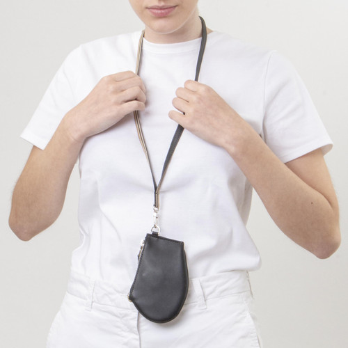 Quality handmade leather safe purse with collar neck strap