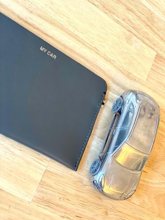 MY CAR - MLS-MarieLaurenceStevigny slim grey leather wallet