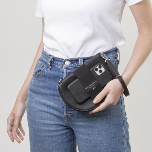 Quality handmade slim and structured leather travel wallet with wrist strap and phone holder