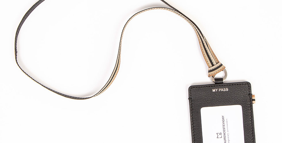 Neck cardholder - Pass - Black leather