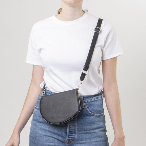 Quality handmade slim and structured leather travel wallet with adjustable crossbody strap