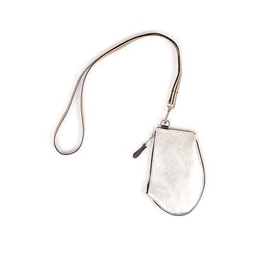 Pochette bandoulière - Zip Micro - Cuir argenté