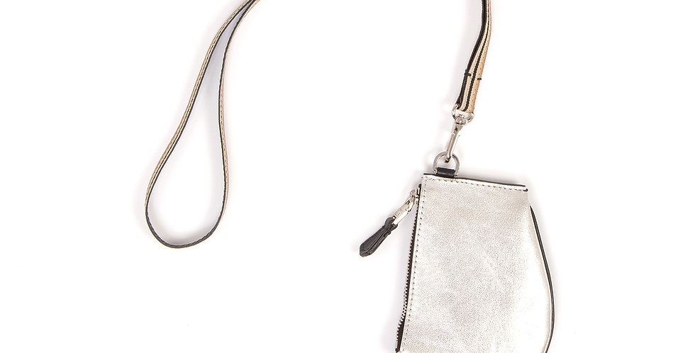 Small pouch - Zip Micro - Silver leather