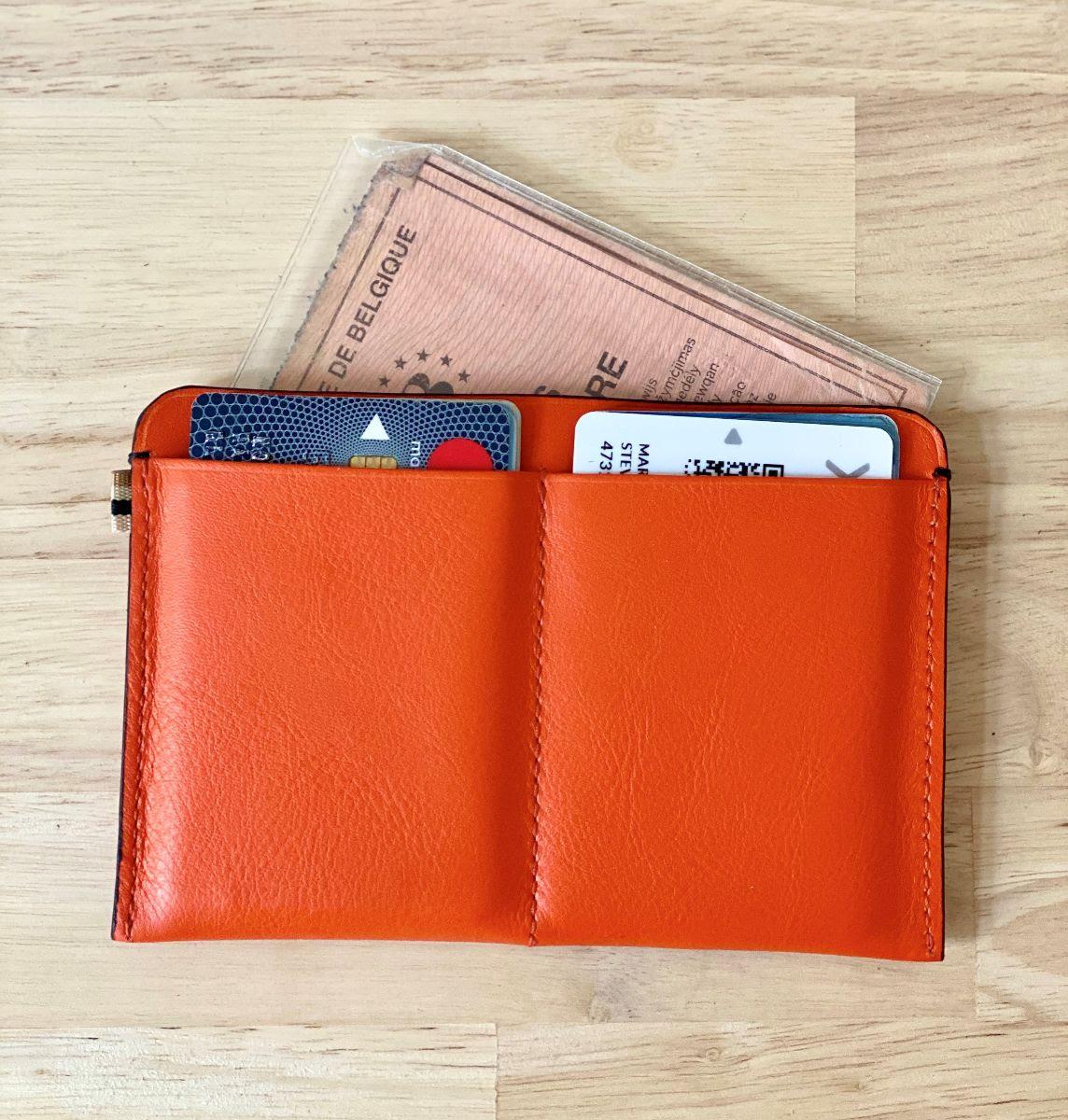 MY CAR - MLS-MarieLaurenceStevigny slim orange leather wallet