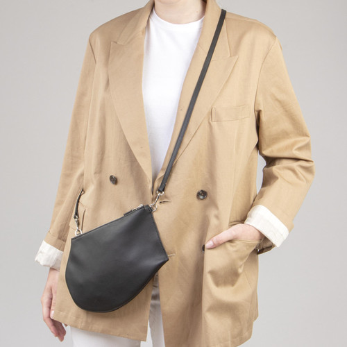 Quality handmade slim and light crossbody leather bag adjustable strap