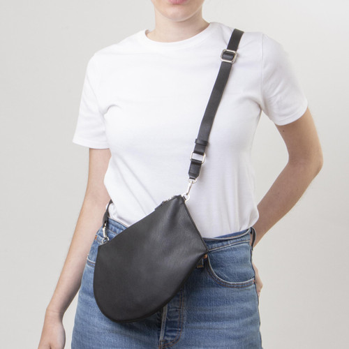 Quality handmade slim and light crossbody leather bag with adjustable strap