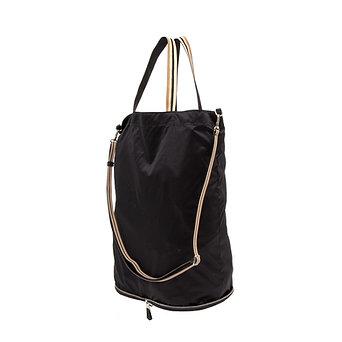 Foldable bag - Pocket Tote - Black recycled nylon base - Skin classic