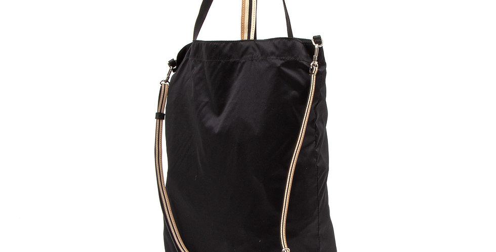 Foldable bag - Pocket Tote - Black nylon recycled base
