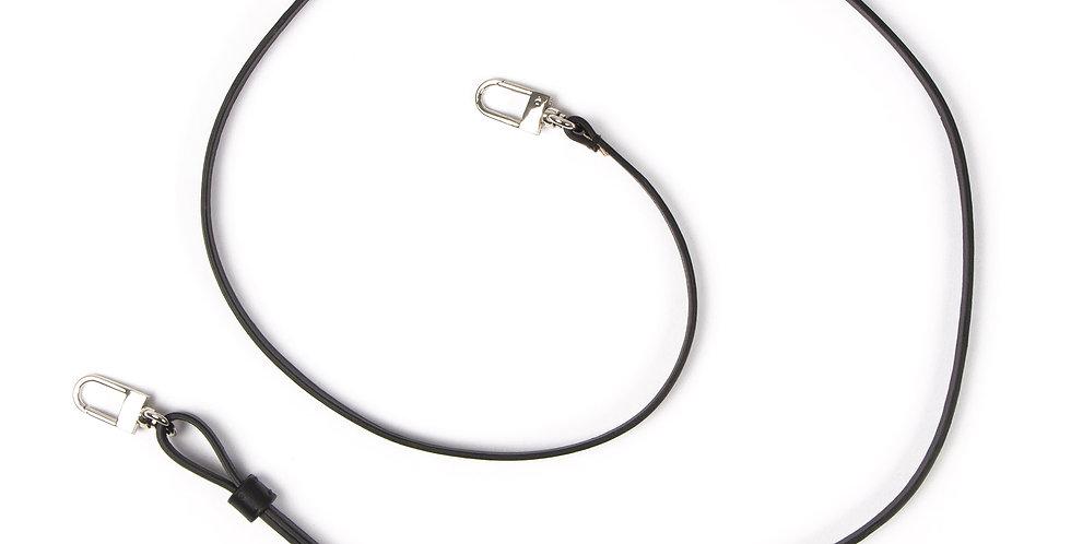 Adjustable Thin Cross Strap - Black leather