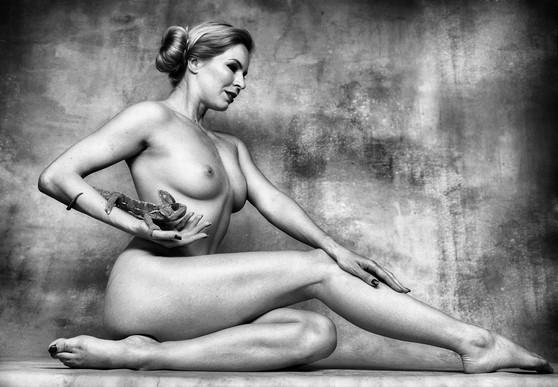 Elemer Lelik - Nude With Chameleon, Hung