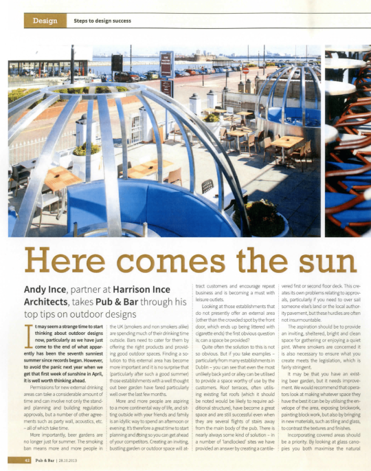 Article written by Andy Ince for Bar Magazine on 'Here Comes the Sun'