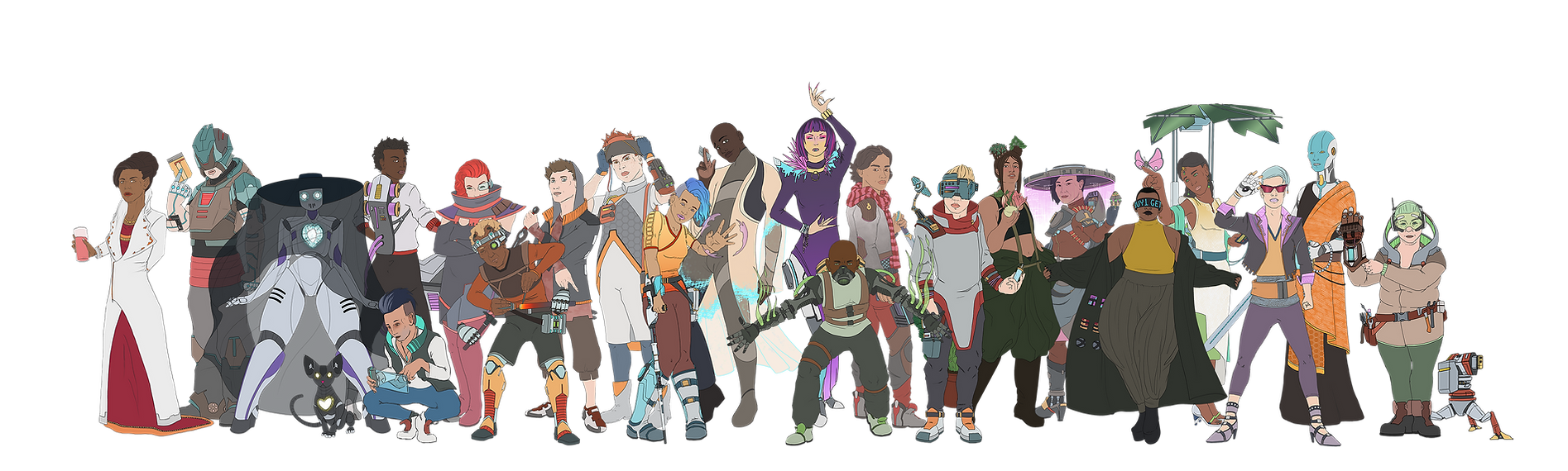 A lineup of 21 cyberpunk characters.