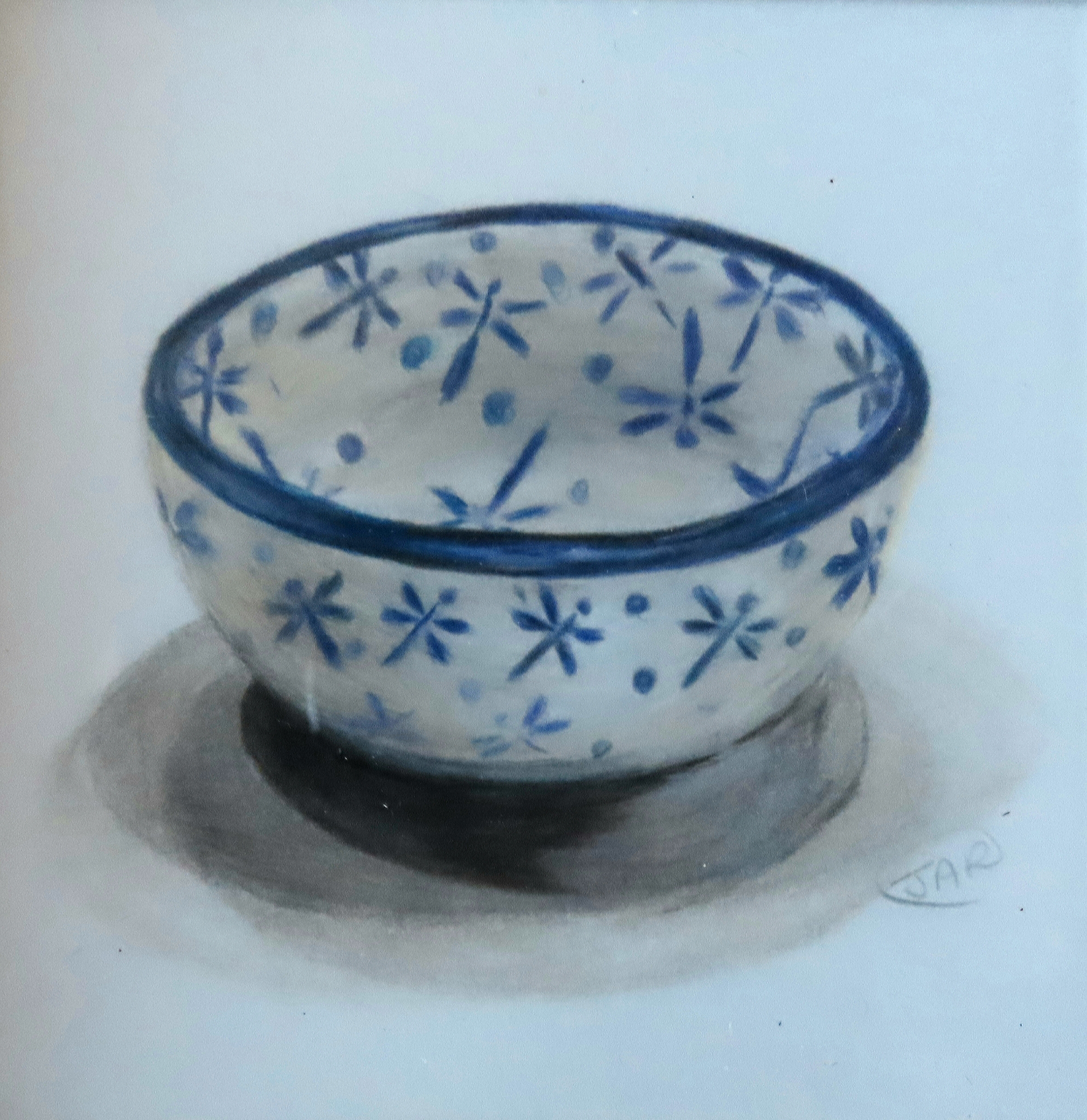 Blue & White Dish  coloured pencil
