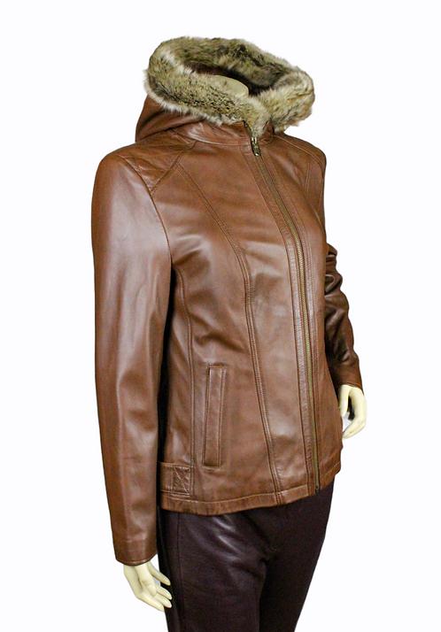 Tahoe Ladies  Leather Jacket with detachable hood