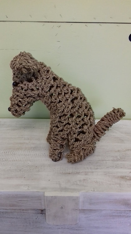 Handmade rope animals - TERRIER DOG - recycled materials