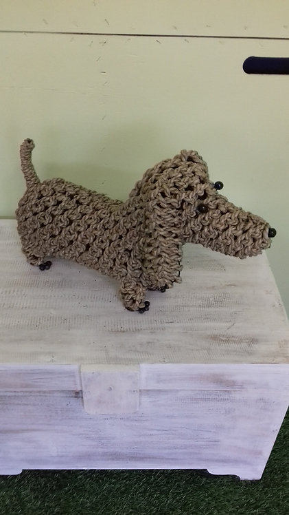 Handmade rope animals - SAUSAGE DOG - recycled materials