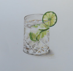' Gin & Tonic' coloured pencil (sold)