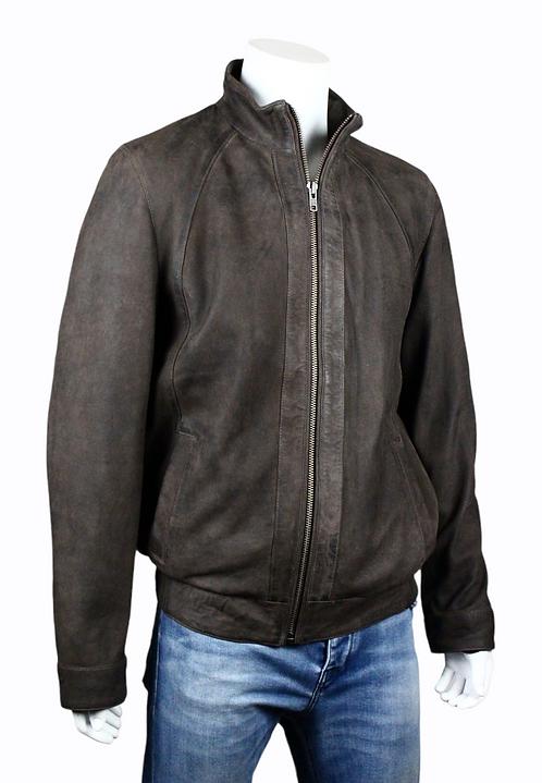 Men's bomber jacket - full grain dark brown new buck brushed leather