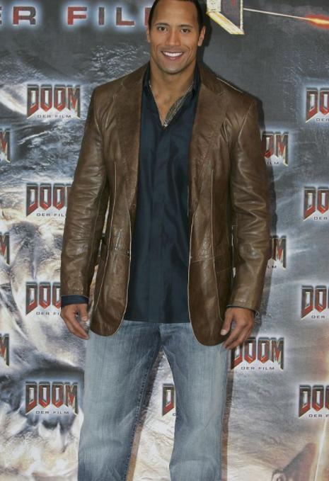 Dwayne The Rock Johnson brown leather jacket
