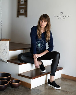 Marble - Pretty Black Top with Starburst motif