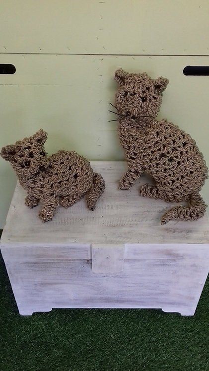 Handmade rope animals - CATS - recycled materials
