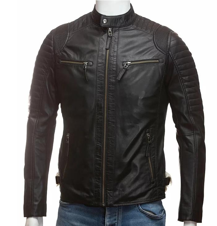 Black mens cafe racer leather jacket