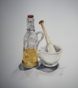 'Pestle and Mortar' coloured pencil