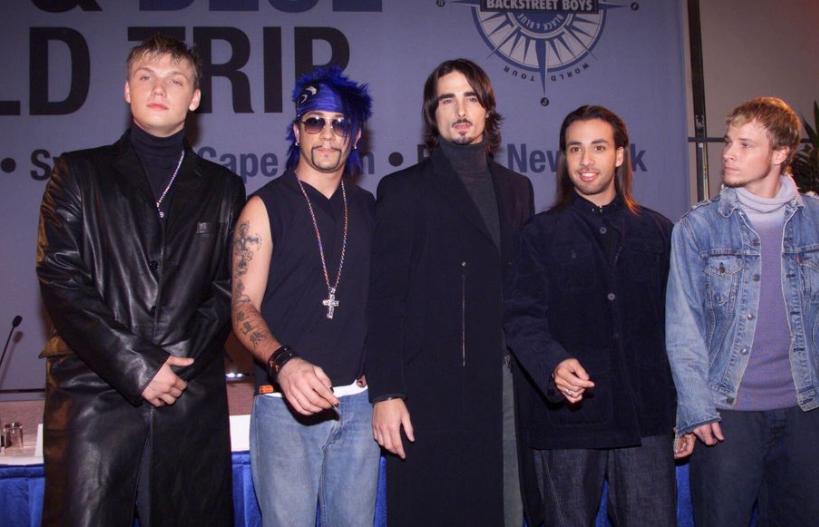 Backstreet Boys wearing Leather jacket