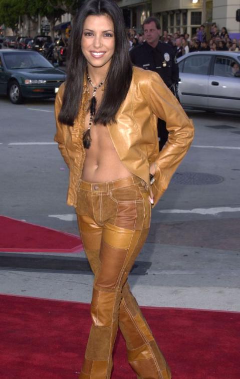 Eva Longoria tan leather jacket 2001