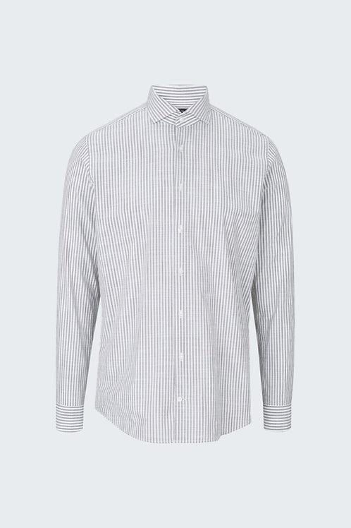 Baumwoll-Hemd Sereno, weiß/braun gestreift
