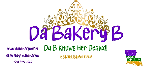 Gold crown, with Da Bakery B, websites and etsy information