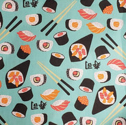 Frutas e Comidinhas - Sushi _ Fundo Azul