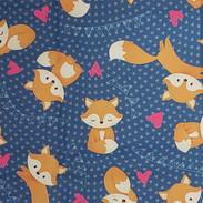 Animais - Raposinhas _ Fundo Azul Marinh