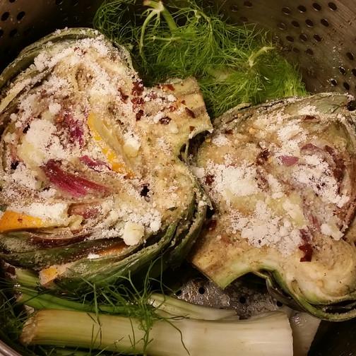 artichokes, Sicilian style- Birdi Sinclair