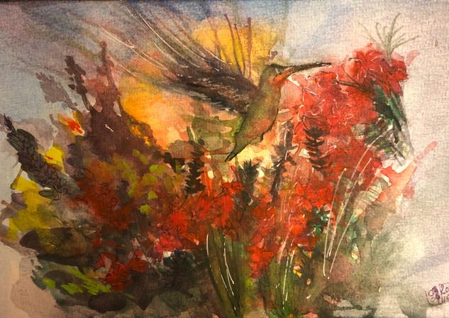 Crimson Hummingbird - Birdi Sinclair - Clair Arts