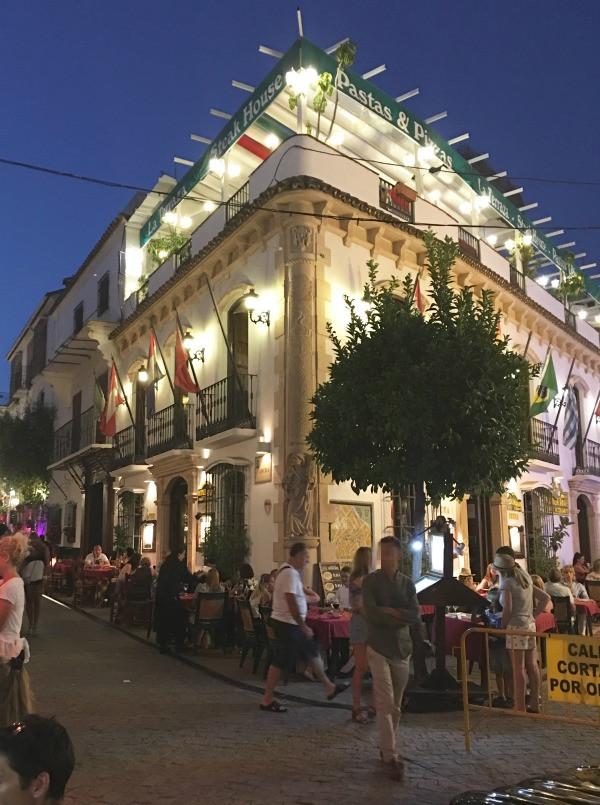 old town marbella at night