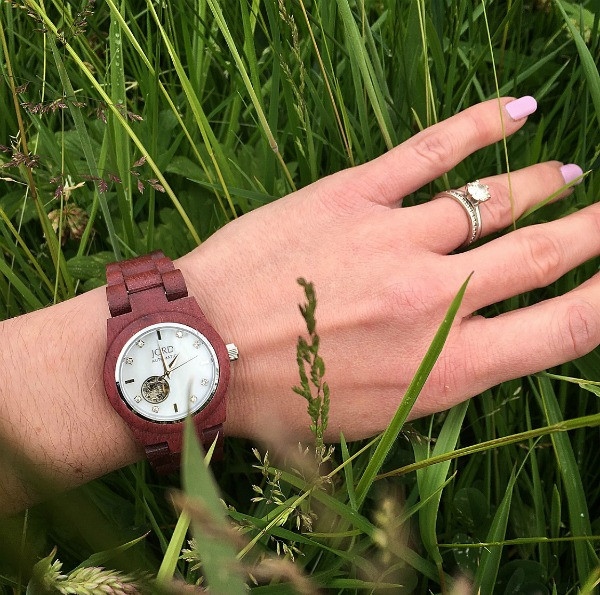 jord wrist watch on my wrist in grass