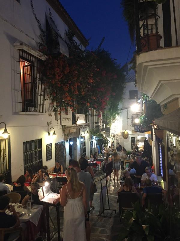old town marbella restaurants at night