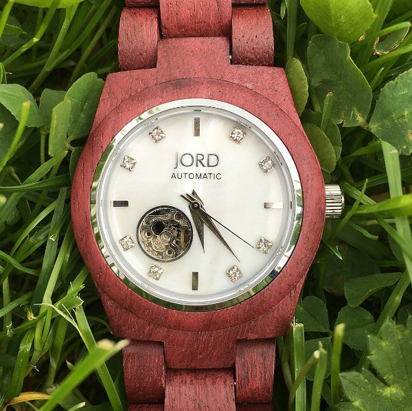 jord wrist watch cora series purpleheart and mother of pearl in the grass