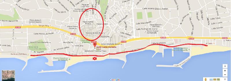 map of marbella around the hotel fuerte