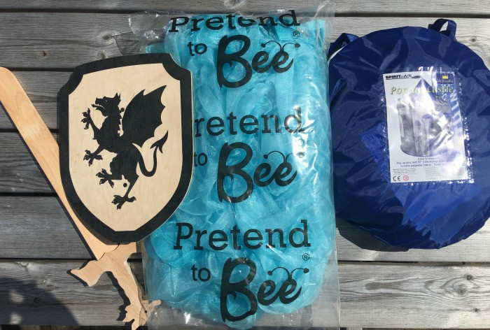 pretend to bee costumes, tent and toys