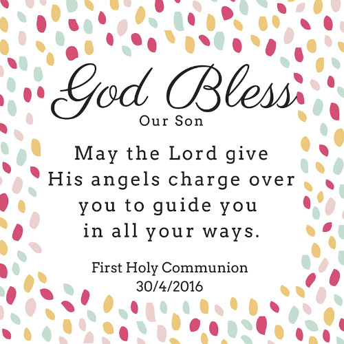 To our Son on his first Holy Communion