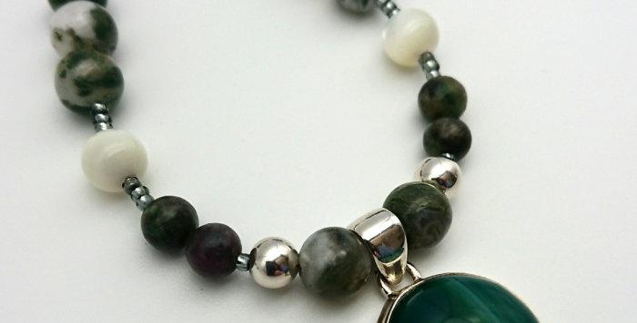 Emerald Earth Necklace - Malachite, Kyanite, Green Agate