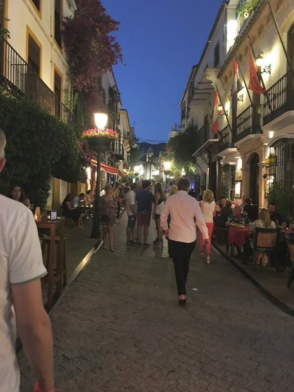 old town marbella street at night