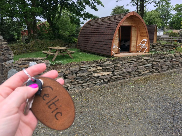celtic luxury pod at top of the rock cork