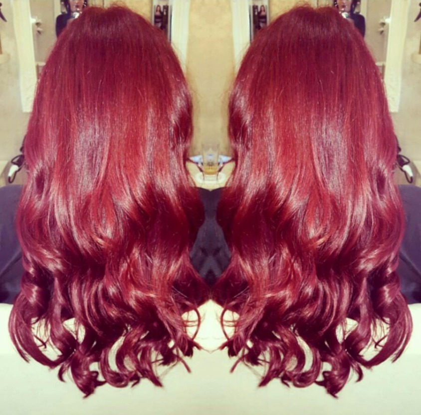 glossy red love hair
