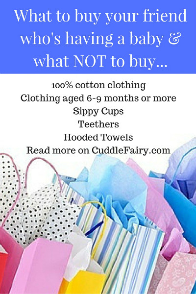 pinterest graphic with What to buy your friend who's having a baby & what NOT to buy...