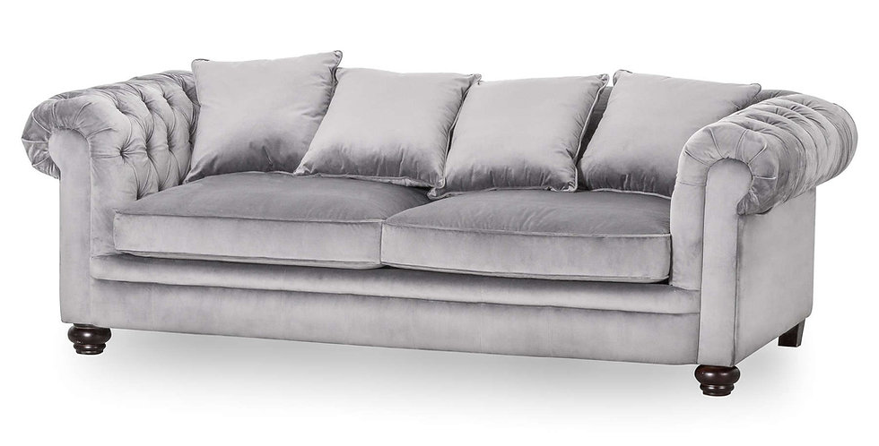Grey Velvet Large Chesterfield Three Seater Sofa